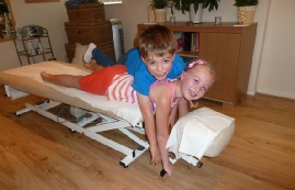 young chiropractic patients in the treatment room